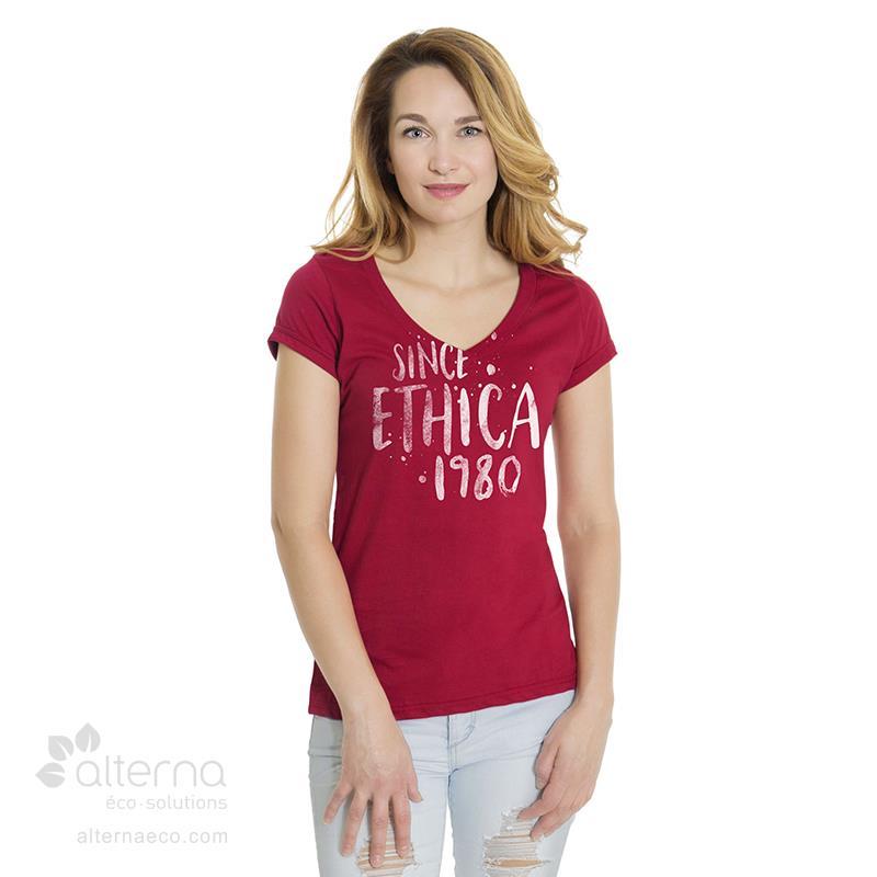 T-shirt en coton bio pour femme avec col en V