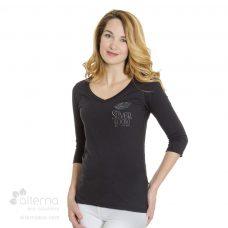 302-0L96-T-shirt-coton-bio-femme-manches-3-4-col-en-V-mannequin