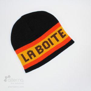 Bonnet en tricot jacquard avec lettrage