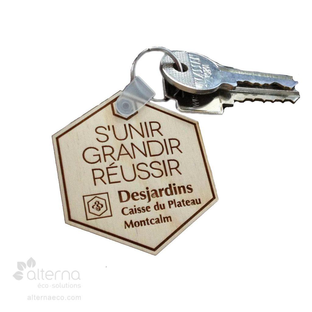 Porte-clé en bois fabriqué au Québec - Desjardins