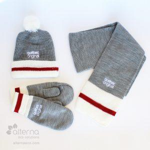 Tuque, foulard et mitaines de style Bas de laine