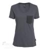302-0L2K T-shirt pour femme en coton bio et polyester recyclé. 2 tons. Poche avant.