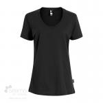 T-shirt en coton bio pour femme avec large col rond - noir