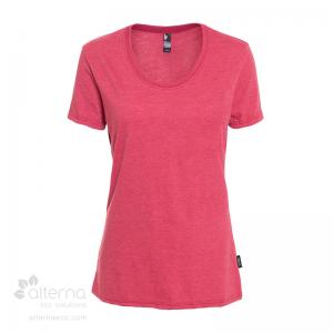 T-shirt en coton bio pour femme avec large col rond - Rouge chiné