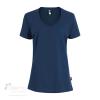 T-shirt en coton bio pour femme avec large col rond - Marine