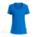 T-shirt en coton bio pour femme avec large col rond - bleu