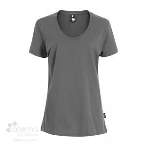 T-shirt en coton bio pour femme avec large col rond - Charcoal