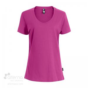 T-shirt en coton bio pour femme avec large col rond - fushia