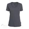 T-shirt en coton bio pour femme avec large col rond - Noir chiné