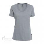 T-shirt en coton bio pour femme avec large col rond - Gris chiné