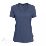 T-shirt en coton bio pour femme avec large col rond - Marine chiné