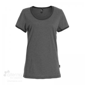 T-shirt pour femme en coton biologique - Fait au Québec - Noir chiné