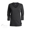 302-0L96 T-shirt coton bio femme manches 3-4 col en V