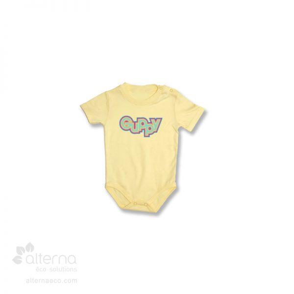 Chandail une pièce pour bébé à manches courtes fabriqué au Québec, Canada.