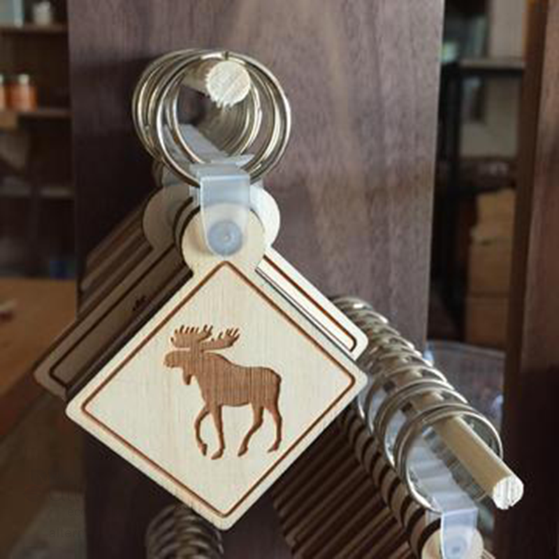 Porte-clés en bois - Orignal