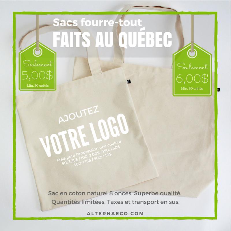 Sacs en coton, Promotion: 2 sacs en coton fabriqués au Québec à prix exceptionnels,