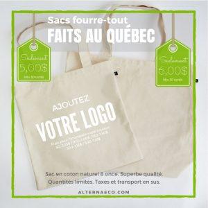 Sacs écologiques en coton fabriqués au Québec