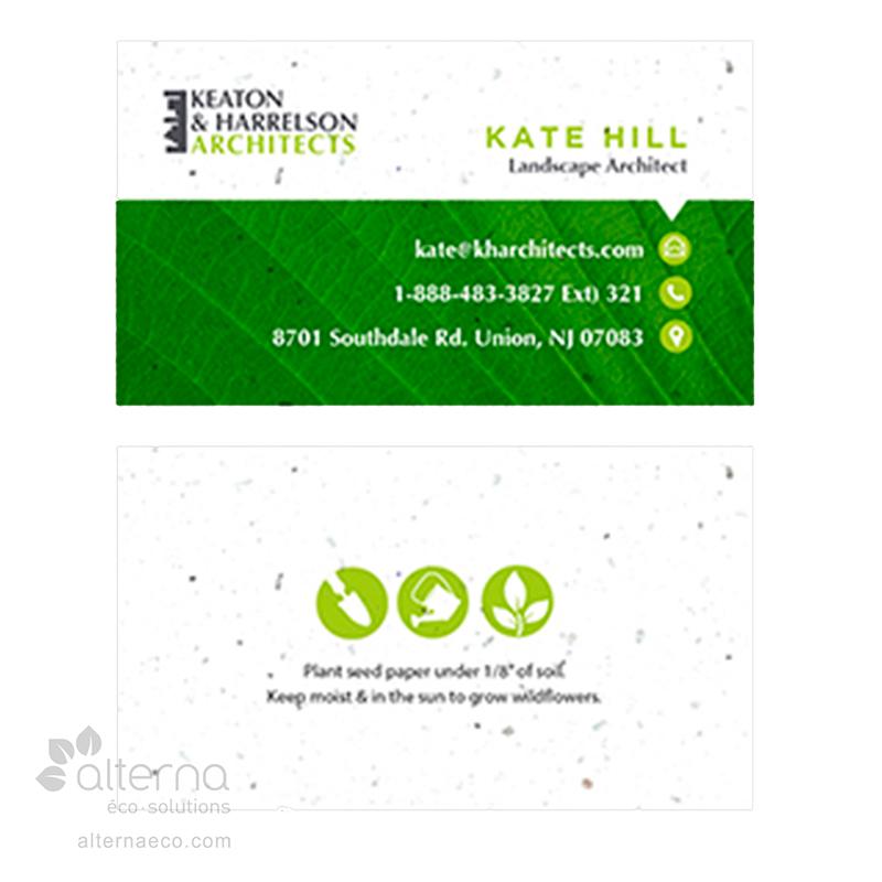 Carte d'affaires en papier ensemencé fabriqué au Québec, Canada