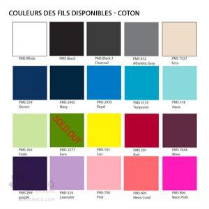 Charte des couleurs - Coton