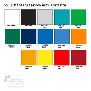 Charte des couleurs - Polyester